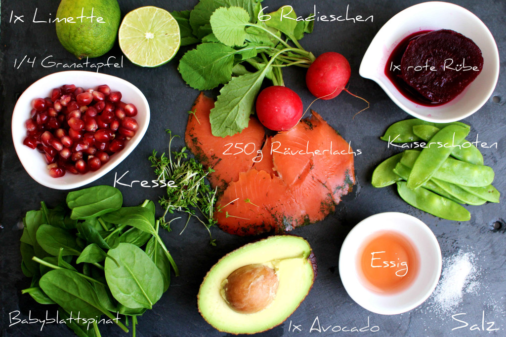Räucherlachs Salat Zutaten
