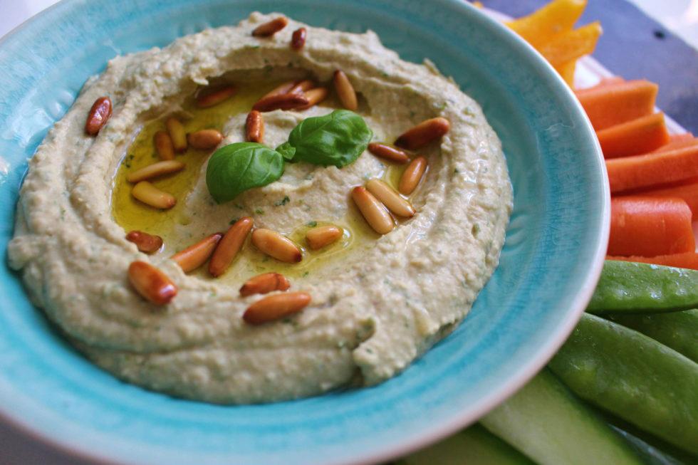 Weiße Bohnen Basilikum Hummus