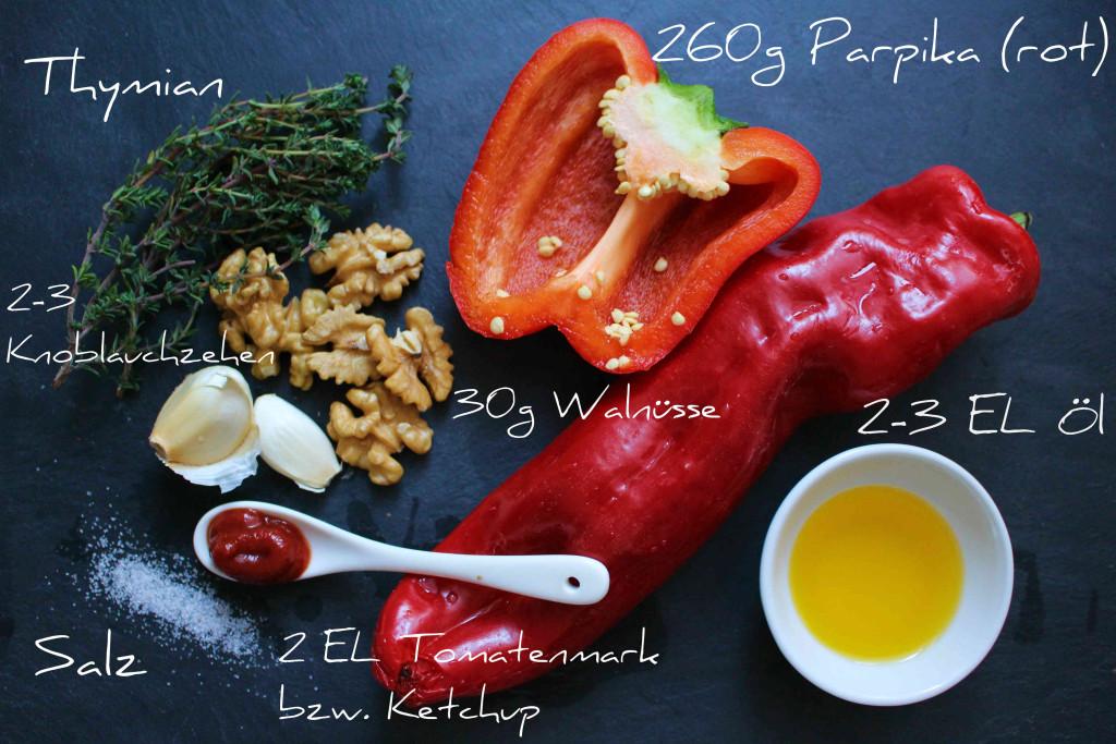 Paprika Pesto Zutaten