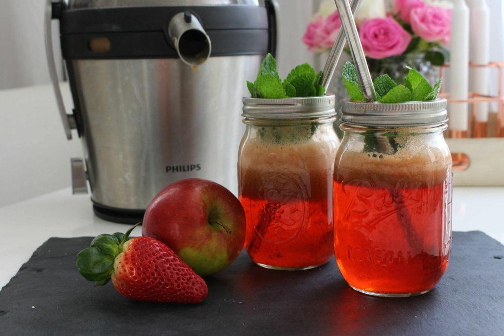 Erdbeer Apfel Basilikum Saft