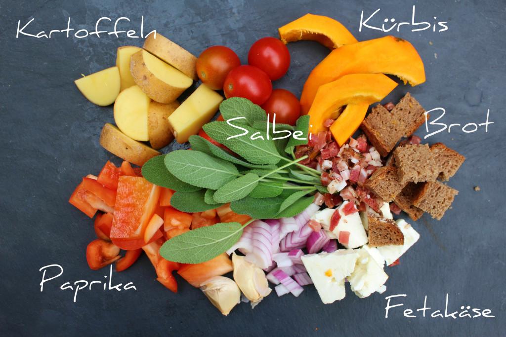 Kürbis Salat Zutaten
