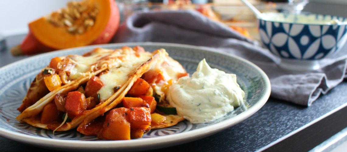 Überbackene Tortillas mit Kürbis und Zucchini*